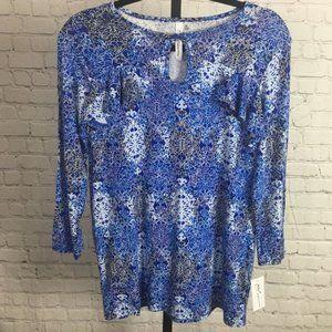 NY Collection Blue Blouse w/ Keyhole Neckline, XS